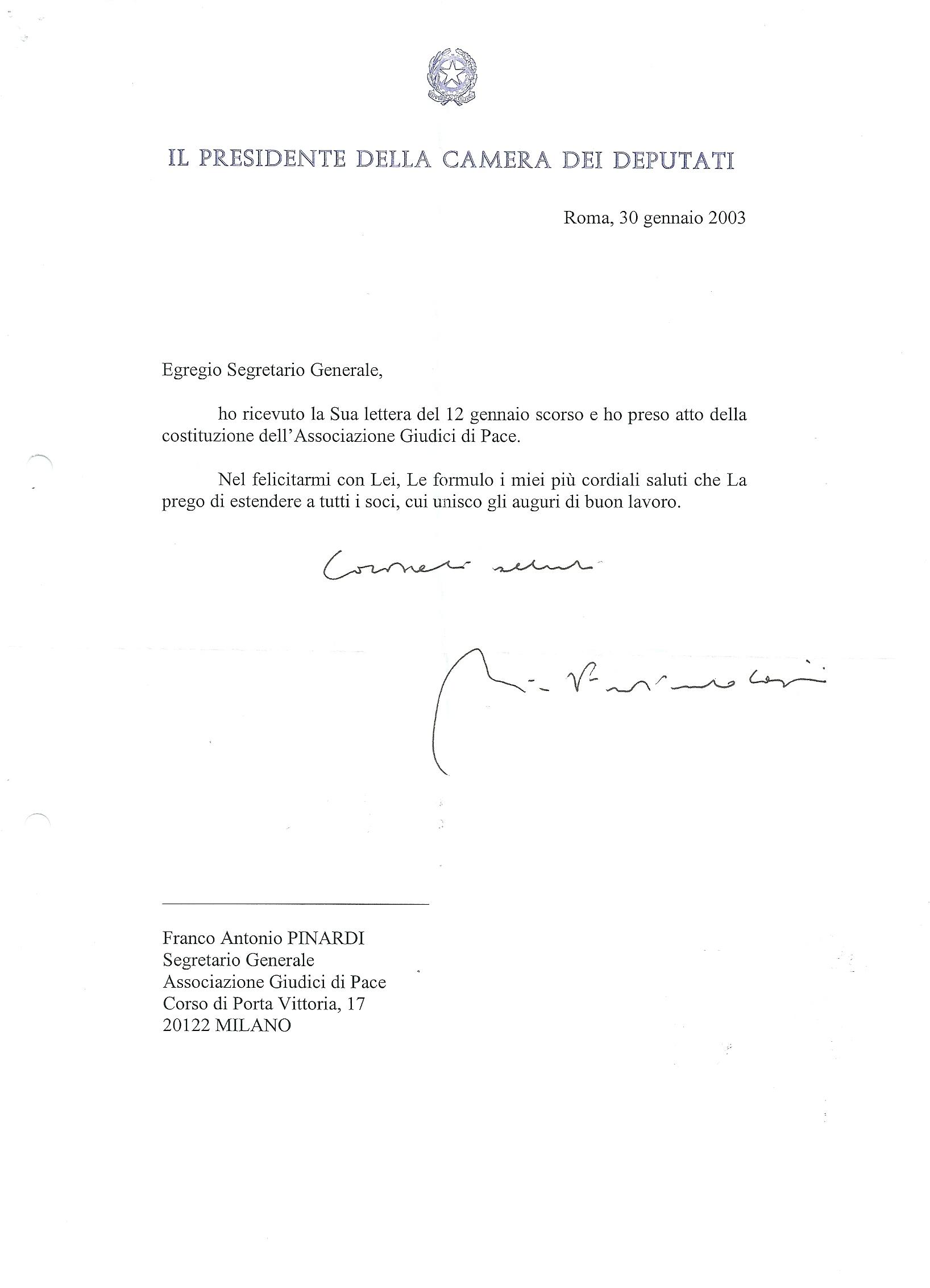 Messaggio augurale del presidente della camera dei for Presidente dei deputati
